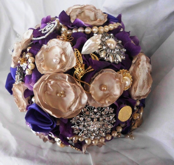 Brooch Wedding Bouquet Deposit, Many Peonies, Bridal, Vintage, bouquet brooch, Custom, Pearls Crystals Fabric Flower Bouquet, weddings