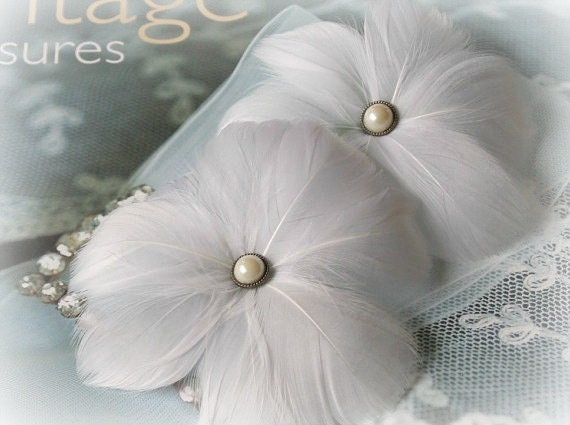 Bridal Feather Flowers in White, Fascinator, Headpiece, Hairpiece, Wedding, Hair Accessory, Clip, Bridal Hair Flowers, Spring, Summer