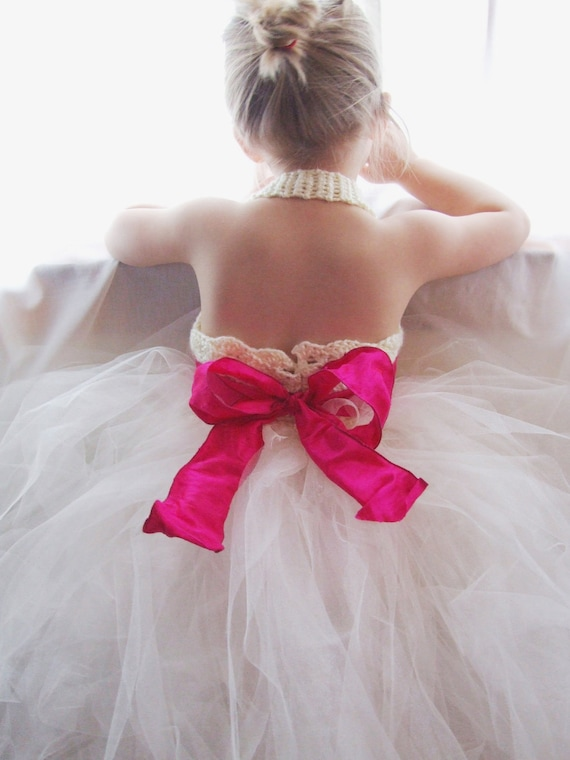 Flower Girl Tutu Dress Crochet Bodice Silk Ribbon Sash and Bow Extra Full Tulle Tutu Shiny Ivory and Pink