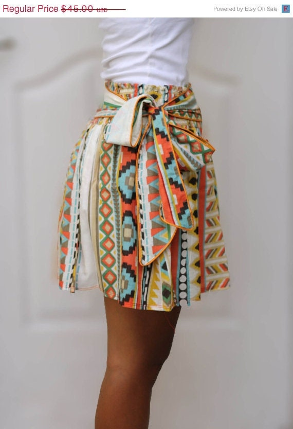ON SALE - OOAK Colorful Tribal Orange Mini Skirt - Ready to ship