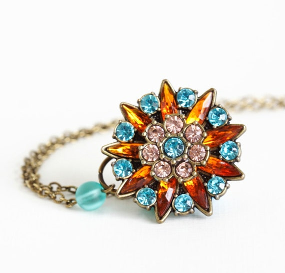 Rhinestone Glamour Pendant, Brass Necklace, Delicate Brass Chain, Amber, Rose and Turquoise Rhinestones