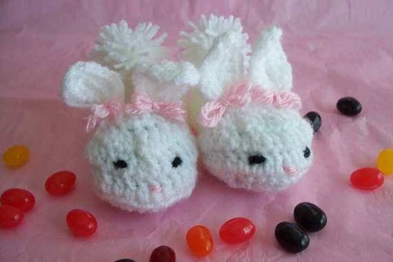 Bunny Slippers - Easter, Baby Bunny Slippers, White, Pink, Easter Gift