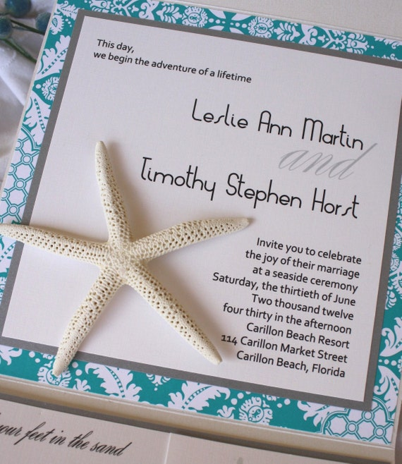 Turquoise and Silver Starfish Pocketfold Destination Wedding Invitation