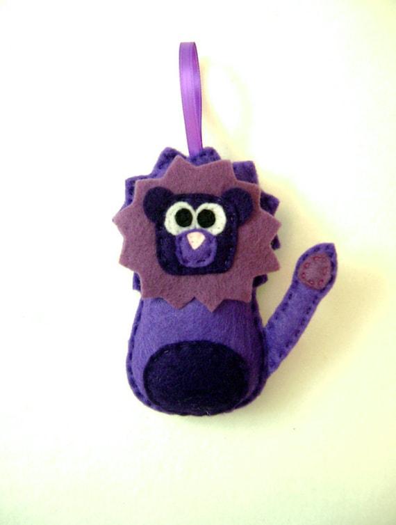 Christmas Felt Ornament - Lloyd the Purple Lion