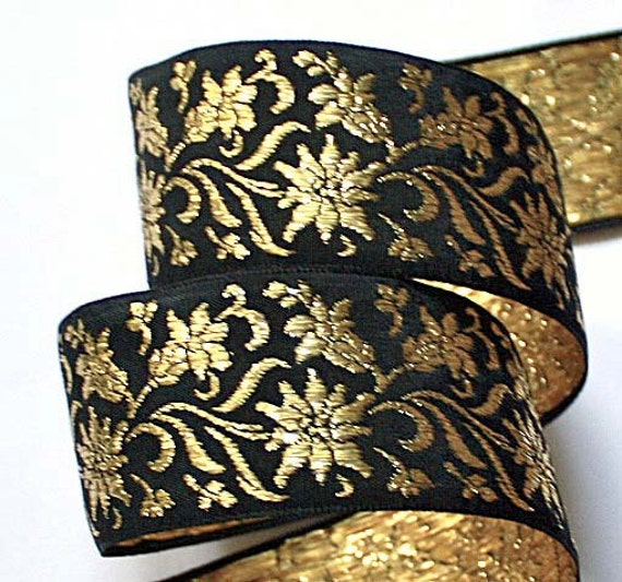 Metallic Floral Woven Jacquard  Ribbon 1 1/2 x 3 yards Black and Metallic Gold Made in Switzerland Rayon Mix