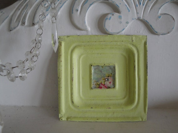 Shabby Chic Pale Lime Green Vintage Ceiling Tile Tin w/ Rose Print and Rhinestone