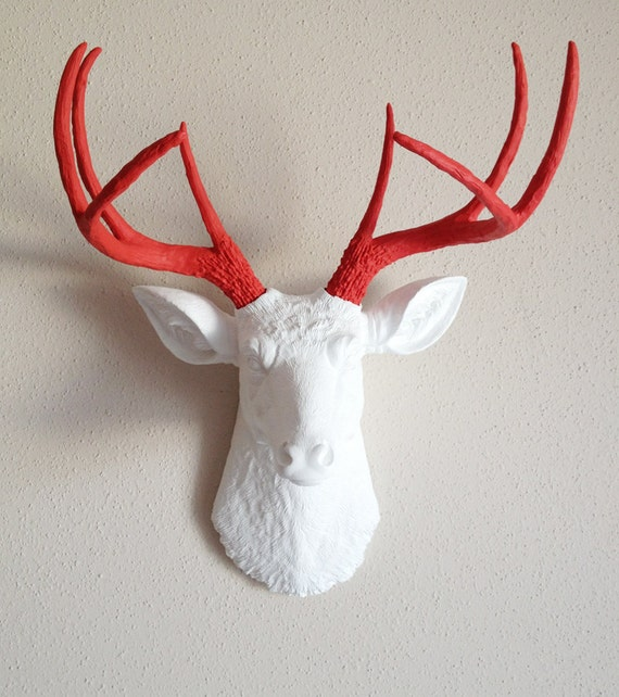 White & Red Deer Head Wall Mount