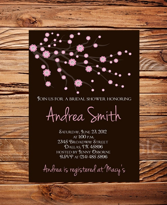 Cherry Blossom Bridal Shower Invitation Bridal Shower Invitation Pink