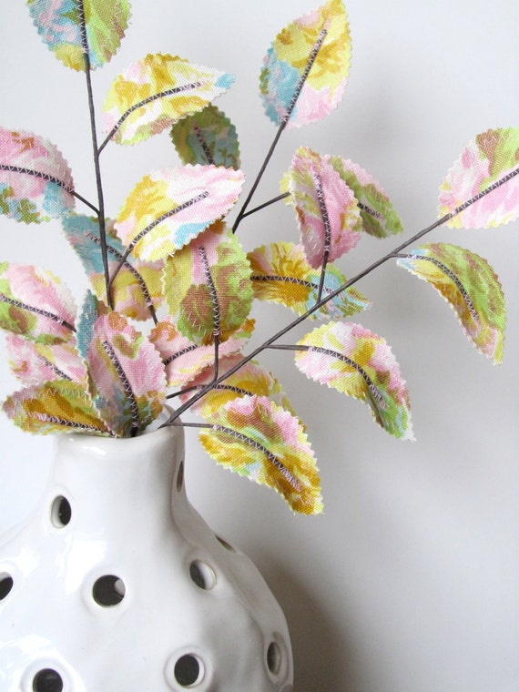 Fabric Leaves - Vintage Easter Egg Pastel Spring Floral Branches (set of 3)