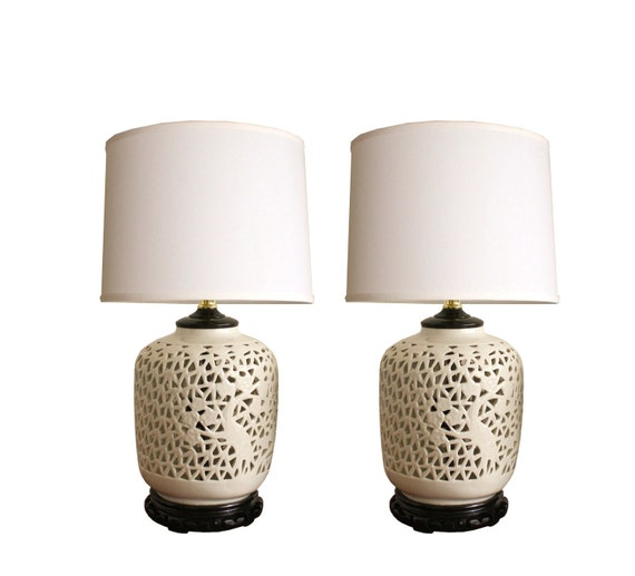 Pair of petite vintage blanc de chine white porcelain table lamps