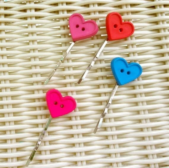 Bobby Pins Heart Buttons - Pink, Red, Teal, Magenta