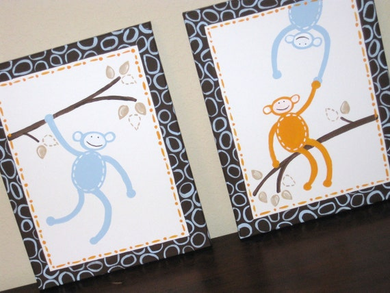 Monkey See Monkey Do, 11x14 (set of 2) READY TO SHIP
