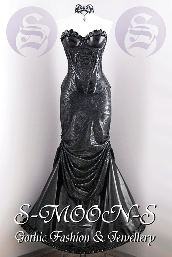 S-MOON-S Gothic Fashion & Jewellery - Gorgon Medusa dress (corset, two skirts, vinyl bra and long snakeskin leatherette gloves)