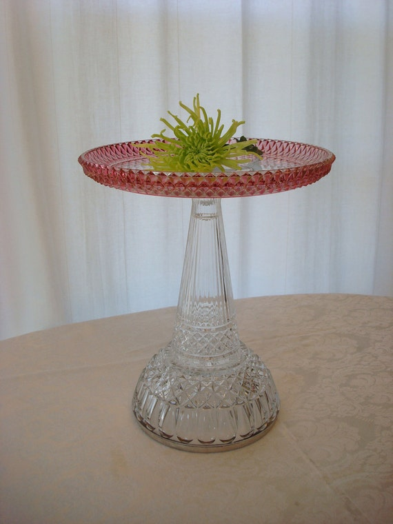 Pedestal cake stand.  Wedding cake stand.  Wedding cake plate.  Repurposed glass.  Pink and mauve glass cake stand.