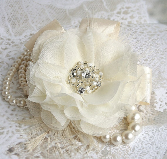 Ivory Bridal Fascinator, Rhinestone Bridal Fascinator, Bridal Hair Flower, Ivory Hair Flower, Wedding Headpiece, Hair Clip, White, Champagne