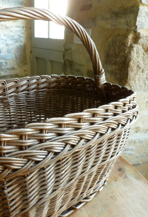 French handmade market shopping basket, vintage wicker basket for Easter