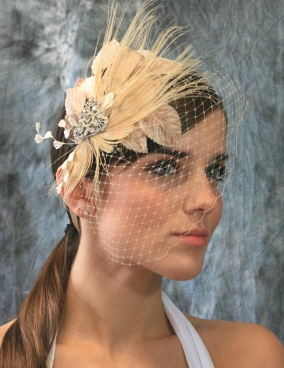 Lilliana Vintage Champagne Ribbon Bridal Headband with Vintage Bridal Brooch