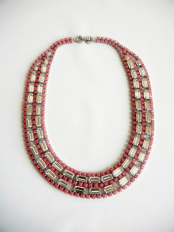 Vintage 1950s One Of A Kind Hand Painted Neon Pink  Rhinestone Bib Necklace