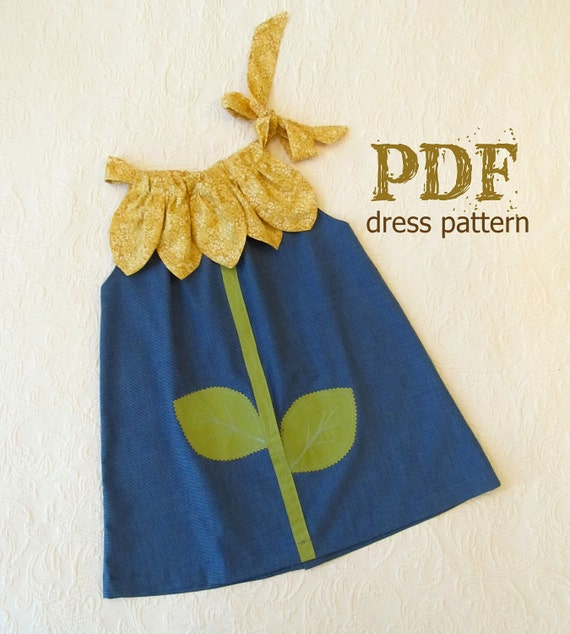 NEW Sunny Flower Pillowcase Dress PDF Pattern Tutorial Easy Sew Sizes 12m thru 10 included