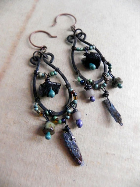 RESERVED - Benthos - The depths of the sea - Tribal sea gypsy earrings