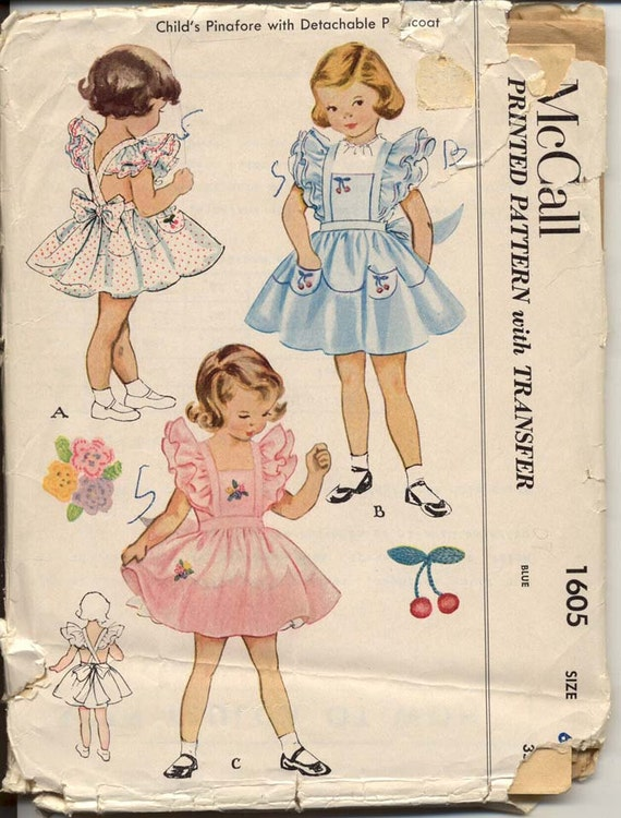 McCall 1605 Girls 1950s Ruffled Shoulder Pinafore Dress Detachable Petticoat Childrens Vintage Sewing Pattern Breast 24 UNCUT