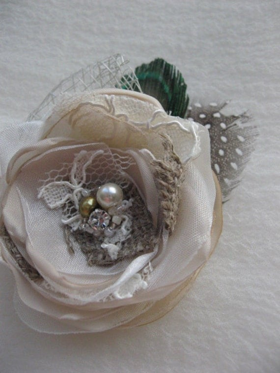 Vintage Rustic Wedding bridal fascinator Hair clip or Boutonniere Flower
