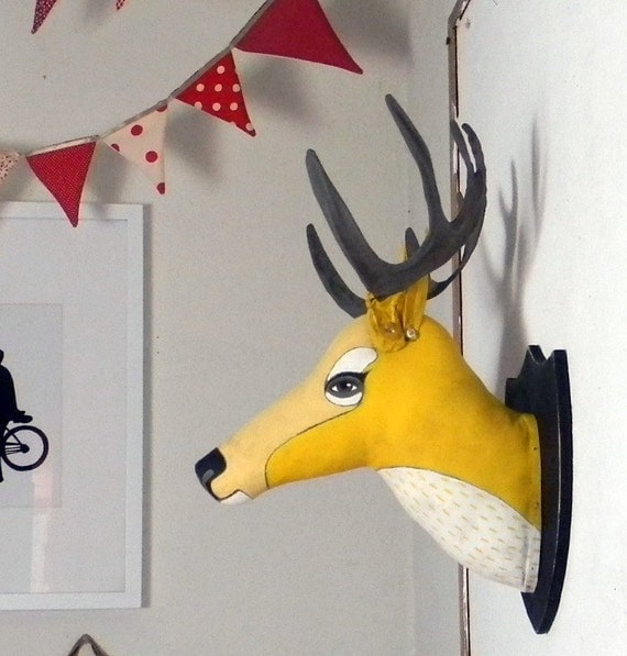 Yellow Deer Head Hand Painted Original Folk Art Cloth Sculpture-- Friendly Faux Taxidermy-- Made to order within a week