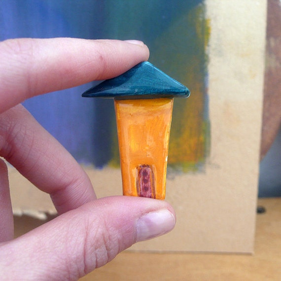 Ceramic Brooch / House In Orange, Dark Blue Roof & Burgundy Red Door
