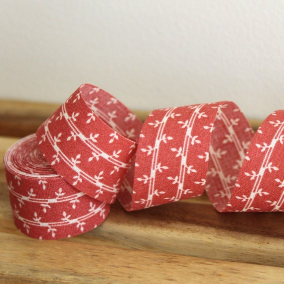 LAST 7/8 inch 22 mm, 6 Yards - Vintage Leafs Ribbon  -  Leaves with stripes on Dark Salmon Background