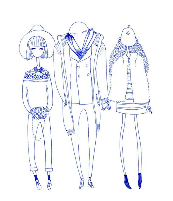 "8"" x 10"" blue ink illustration print, street fashion style"