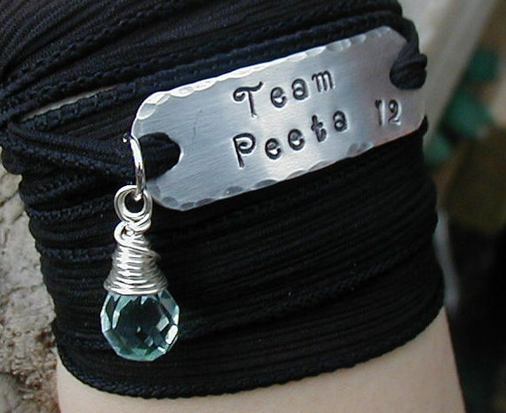 The Hunger Games Bracelet Wrap - TEAM PEETA Hand Stamped  with Black Silk Ribbon Wrap