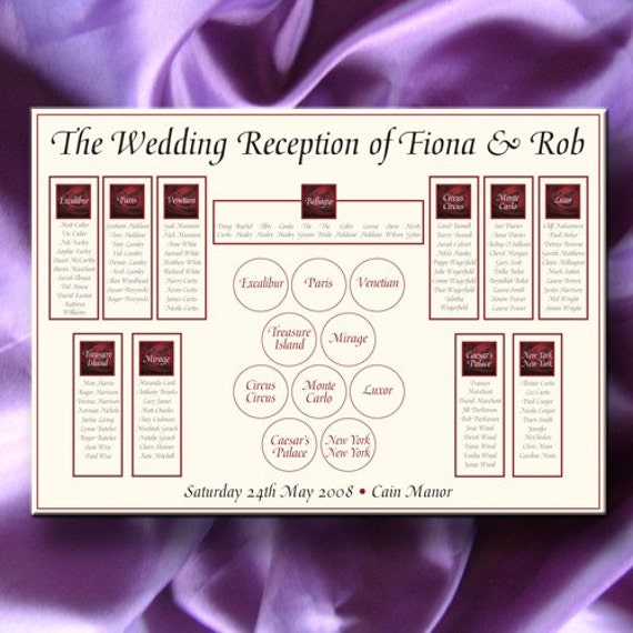 Wedding Table Seating Plan A3 your choice of design