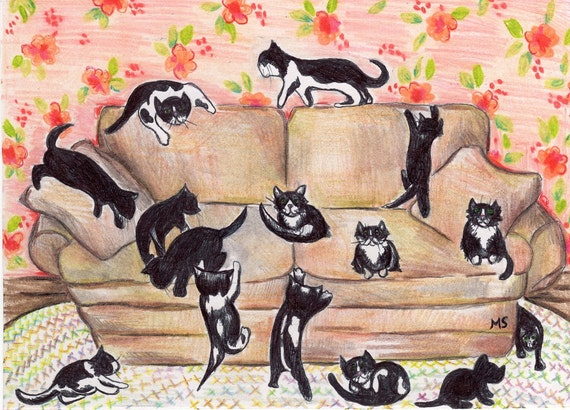 "Kittens on the Couch - Black and White Cat- Black cat- 5x7"" Original Ink Drawing"