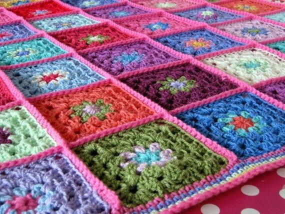 Springtime Gorgeous Granny Square Crochet Blanket Afghan