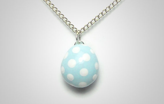 Easter Egg Necklace - Polymer Clay Easter Jewelry Cute Pendant