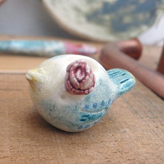 Ceramic Birdy With Red Rose on Head
