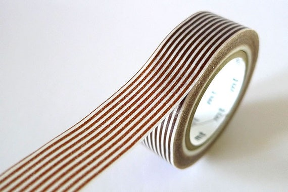 Brown Washi Tape Horizontal Striped Lines 15mm Japanese MT Masking Tape - PrettyTape