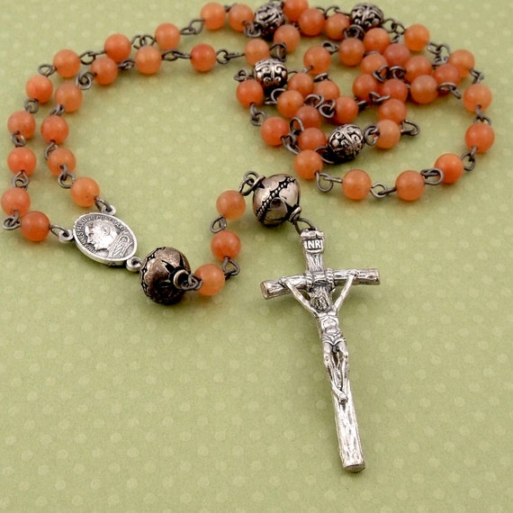 Carnelian Catholic Rosary with pewter crucifix