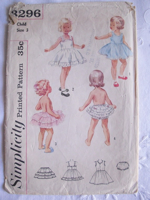 Simplicity Sewing Pattern...Girl's Slip Petticoat and Panties...from the 1950s...Age 3