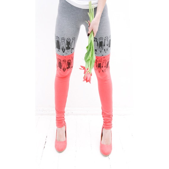 Coral pink tulip leggings
