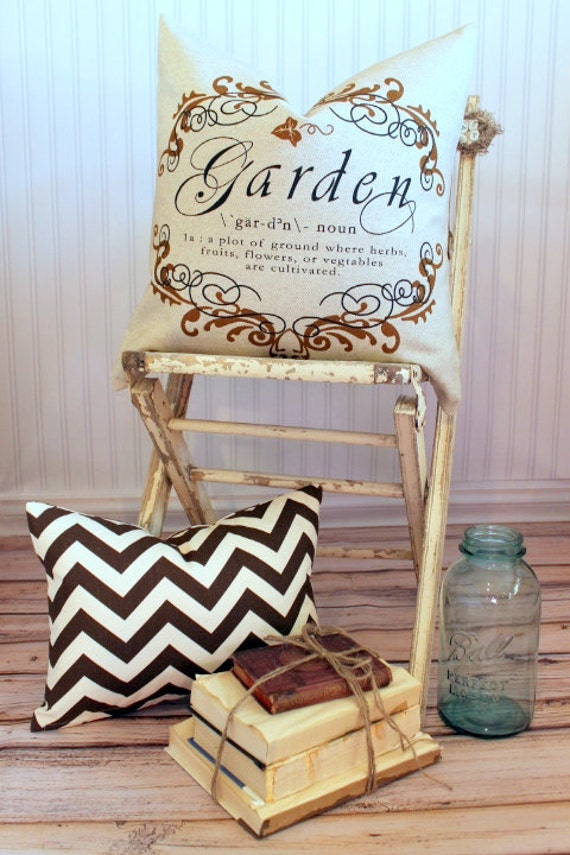 Garden Script Pillow Cover 20 x 20 Brown with Flax Linen Back