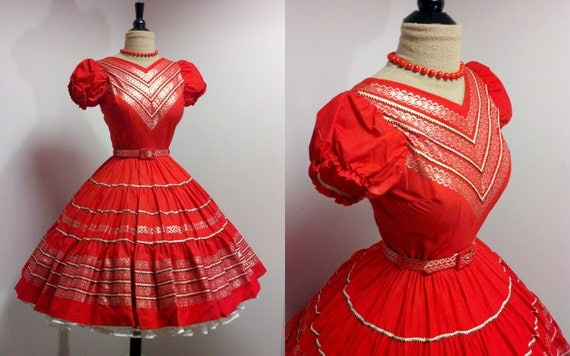 Vintage 1950s Red Mexican Circle Skirt Dress Rockabilly