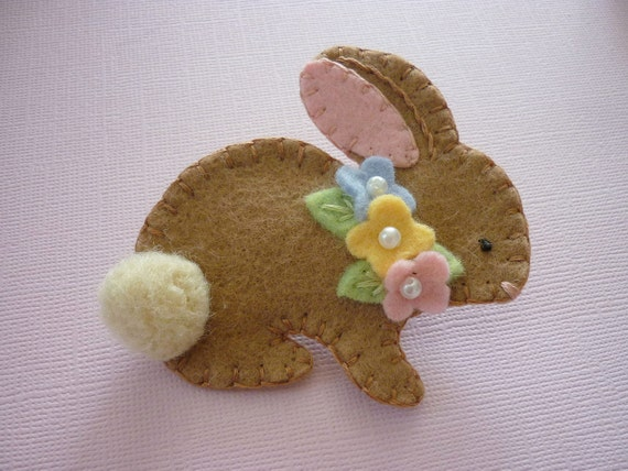 Felt Bunny Brooch Easter Bunny Spring Beaded Flowers
