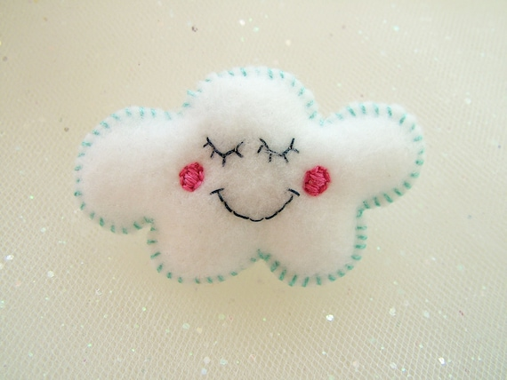Flossy the Cloud Felt Brooch - Cute Pin - A Hoobynoo World Character