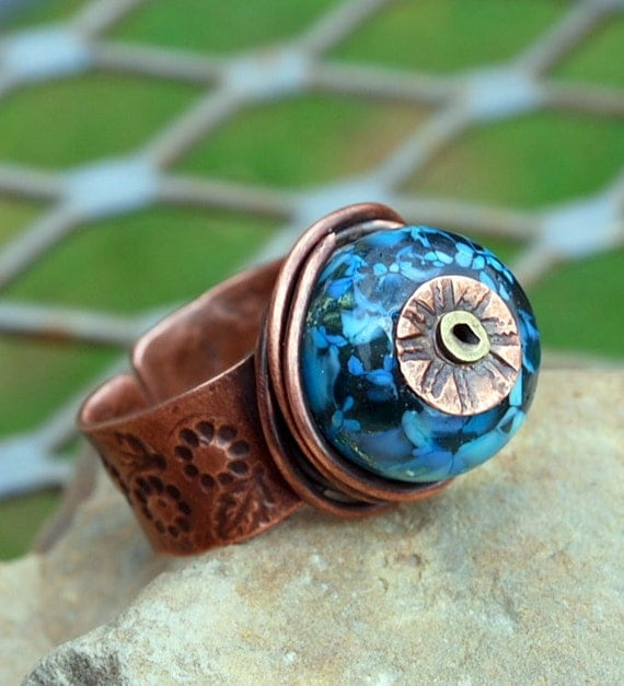 Copper Ring with Wire Wrapped Flame Glass Bead Melinda Orr Orrtec