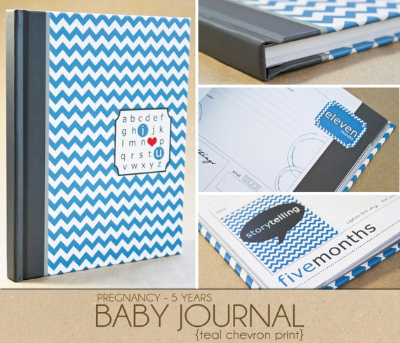 Baby Book -  Blue Chevron (125 designed journaling pages to record pregnancy up to 5 years)