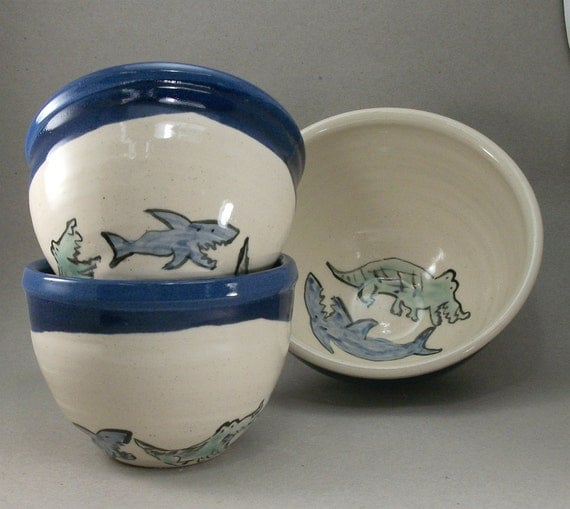 marvelous deal on a set of shark and crocodile bowls