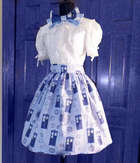 Tardis Lolita Skirt- custom made, cotton fabric- doctor who inspired