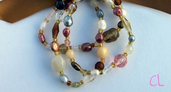Gold Beaded Bracelets with Matching Ribbon