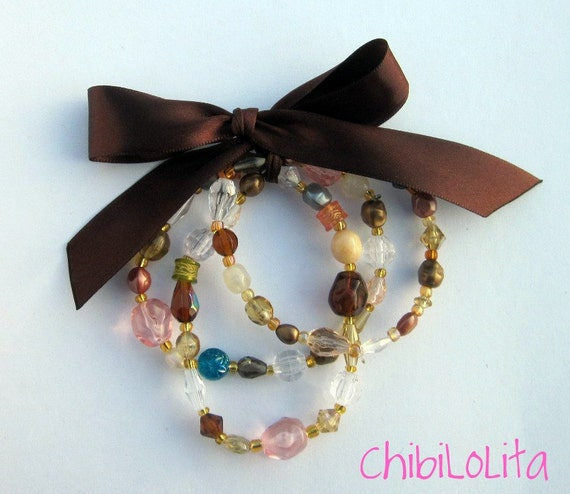 Brown Beaded Bracelets with Matching Ribbon